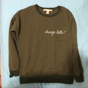 Army Navy Green Crew Neck with Always Late